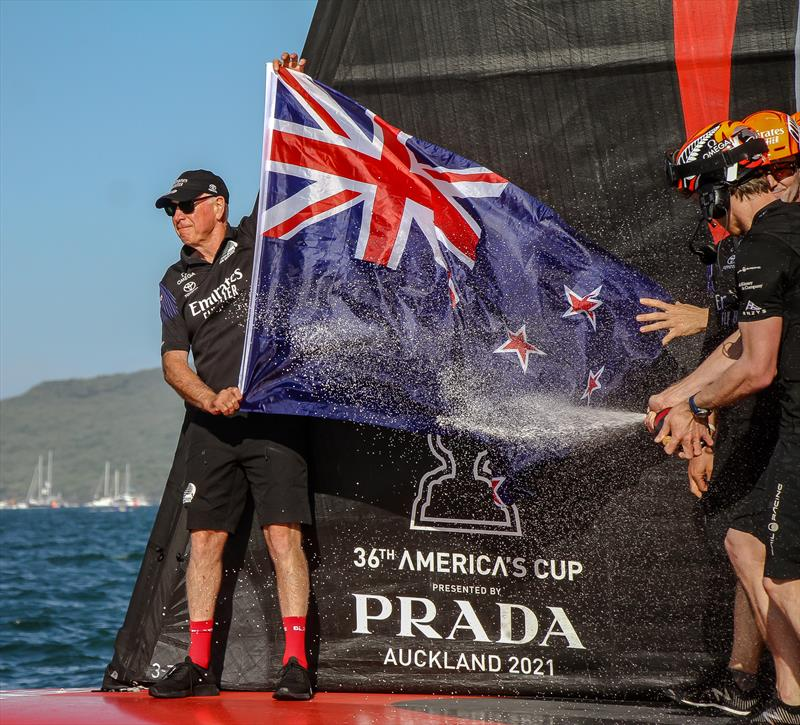 Sir Stephen Tindall, Emirates Team NZ - America's Cup - Day 7 - March 17, 2021, Course A - photo © Richard Gladwell / Sail-World.com