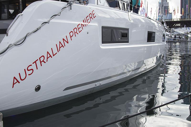 Reflections give an idea as to the amount of step involved in the Lagoon 46's hulls. - photo © John Curnow