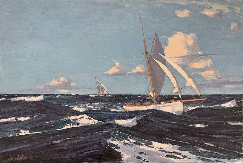 The Homeward Leg, Tally Ho and La Goleta, Fastnet Race 1927 (Homeward bound) - oil on canvas 61 x 92 cms 24 x 36 ins - photo © Martyn Mackrill