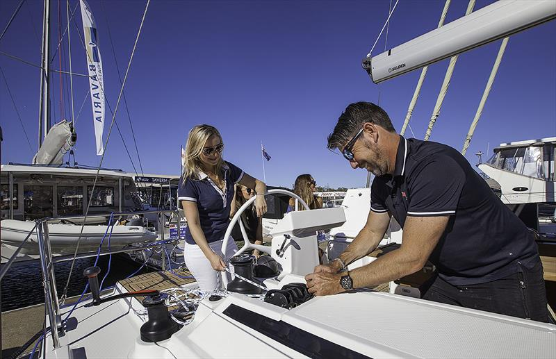 Nikita Hutten and Lee Randall from Ensign Ship Brokers making final preparations for the maiden sail. - photo © John Curnow