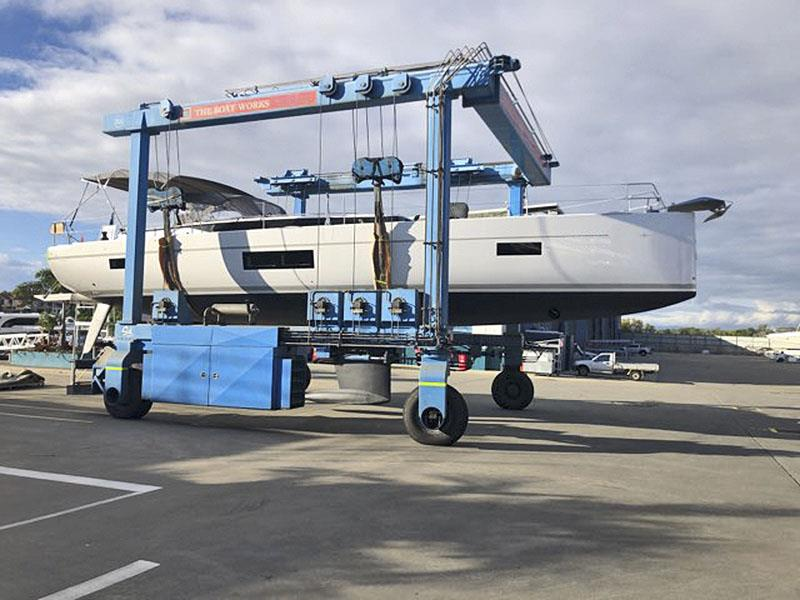 New Bavaria 57 about to hit the water and then have her mast stepped. - photo © Ensign Ship Brokers