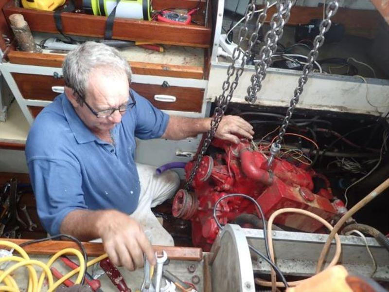 Diesel engine in Clipper - The diesel engine is hooked up ready for lifting - photo © livingourlifestyle.com