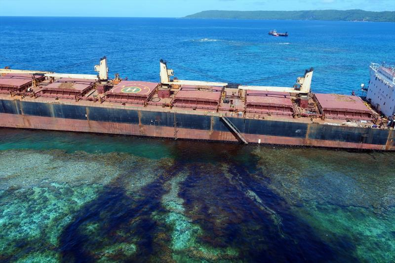 The oil spill from the MV Solomon Trader along the coastline of Rennell Island. - photo © AFP