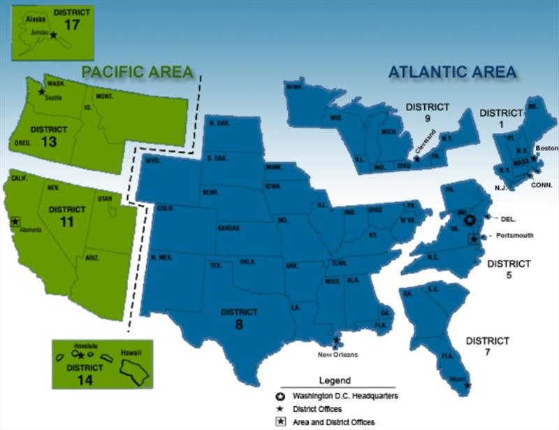 Map to read the latest USCG Notice to Mariners for your location - photo © navcen.uscg.gov