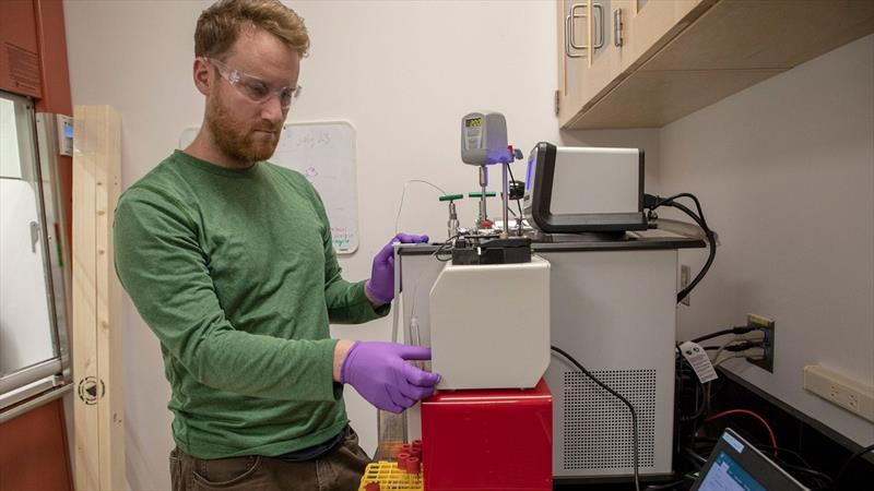 Marine chemist Collin Ward working in his lab. - photo © Jayne Doucette, © Woods Hole Oceanographic Institution