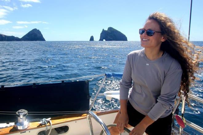 Single-handed sailor Elana Connor sails her 10.4m yacht Windfola down the North Island's east coast, past Motukokako Island off Cape Brett. - photo © Photo supplied