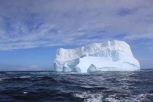 Icebergs close to the final resting place of the RMS Titanic - photo © John Konrad