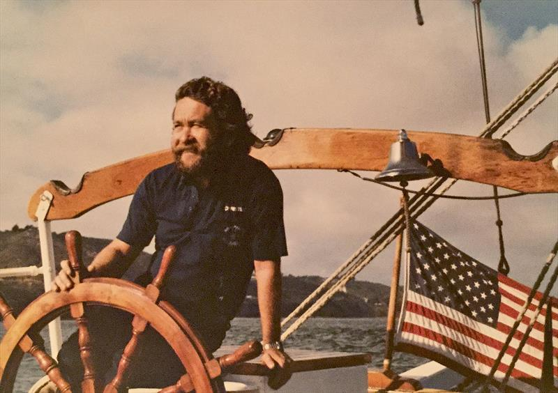 Christian on the helm of the Brigantine, Rendezvous. - photo © Photo supplied